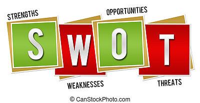 SWOT Red Green Blocks - SWOT - Strengths Weaknesses...