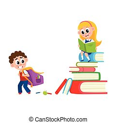 Boy going to school, girl sitting on book pile