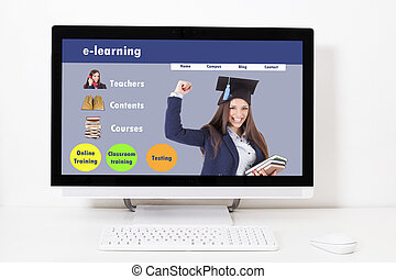 computer screen desktop with web learn online, e-learning