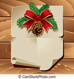 Christmas Letter - Xmas ribbon and blank paper leaf on...