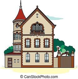 Residence ocher - Vector illustration of a house, file EPS 8