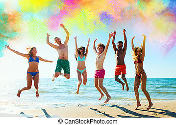 Colourful summer for a group of friends - Happy friends jump...