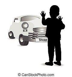 Child safety on the ground. Car accident
