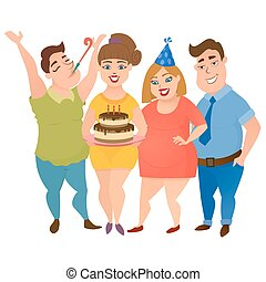 Happy fat men and women friend party - Group of happy...