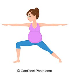 Young pregnancy woman meditation in yoga poses.