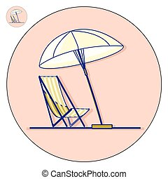 Beach chaise longue with umbrella vector flat illustration....