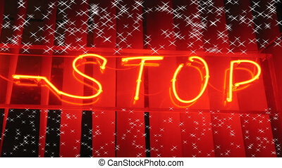 Stop blurry neon on red striped background with flickering small stars
