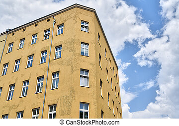 simple house and cloudscape, Berlin Kreuzberg