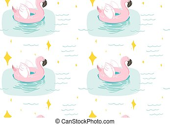 Hand drawn vector abstract summer time fun seamless pattern with pink flamingo float swimming pool buoy circle and sparkles isolated on blue water background