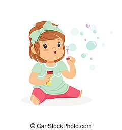 Adorable little girl sitting blowing bubbles vector Illustration