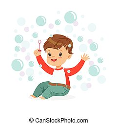 Smiling little boy sitting on the floor and playing bubbles vector Illustration