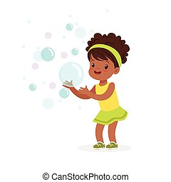 Cute smiling little girl playing bubbles vector Illustration