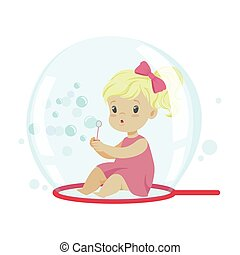 Adorable little girl blowing bubbles while sitting inside soap bubble vector Illustration