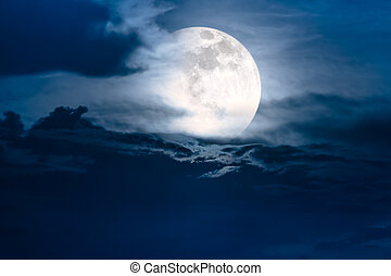 Nighttime sky with clouds and bright super moon with shiny....