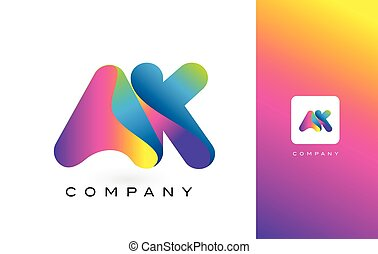 AK Logo Letter With Rainbow Vibrant Beautiful Colors....