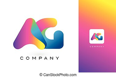 AG Logo Letter With Rainbow Vibrant Beautiful Colors....
