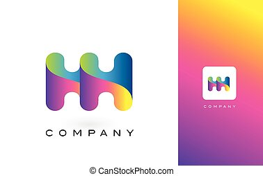 HH Logo Letter With Rainbow Vibrant Beautiful Colors....