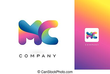 MC Logo Letter With Rainbow Vibrant Beautiful Colors....
