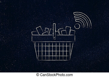 shopping basket with wi-fi symbol