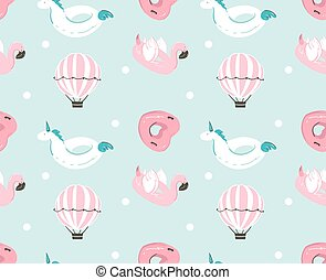Hand drawn vector abstract summer time fun seamless pattern with pink flamingo float, unicorn swimming pool buoy ,heart shape circle and hot air balloon isolated on blue water background