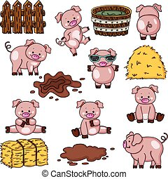 Farm pig collection set - Scalable vectorial image...
