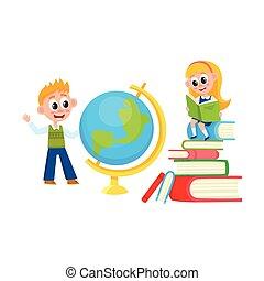 Children learn, girl reading, boy studying globe