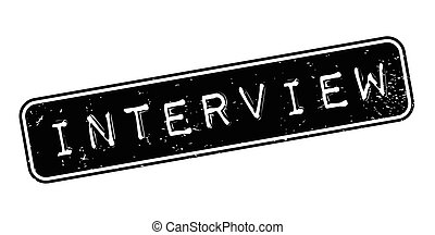 Interview rubber stamp. Grunge design with dust scratches....