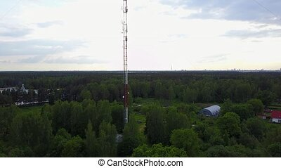 Radio tower Ulbroka Latvia Aerial drone top view 4K UHD...