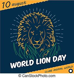 Holiday   World Lion Day linear style