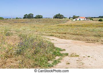 Farm house and road in Porto Covo, Alentejo, Portugal