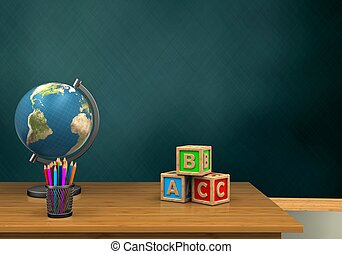 3d pencils - 3d illustration of schoolboard with abc cubest...