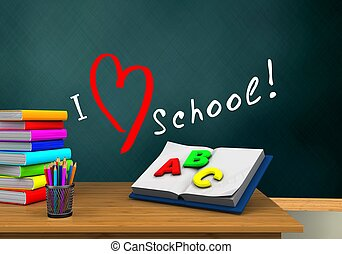 3d schoolboard - 3d illustration of schoolboard with love...
