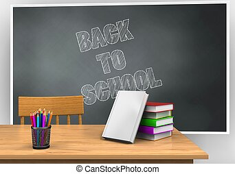 3d blank - 3d illustration of blackboard with back to school...
