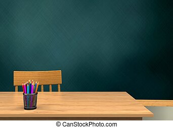 3d blank - 3d illustration of schoolboard with t and