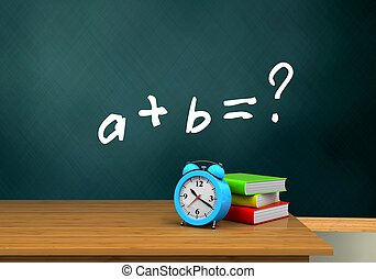3d blank - 3d illustration of schoolboard with math exercise...