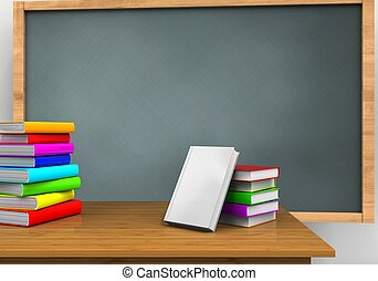 3d pile of literature - 3d illustration of chalkboard with...