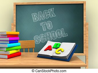 3d back to school - 3d illustration of board with back to...
