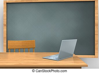 3d blank - 3d illustration of chalkboard with laptop...