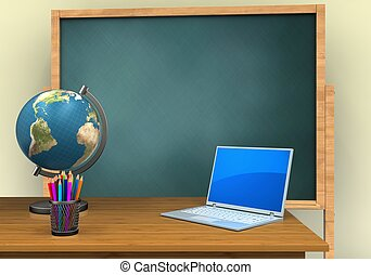 3d blank - 3d illustration of board with computert and globe