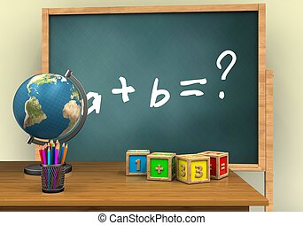 3d math cubes - 3d illustration of board with math exercise...
