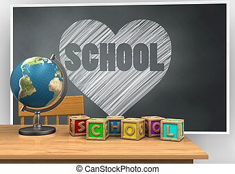 3d letters cubes - 3d illustration of blackboard with heart...