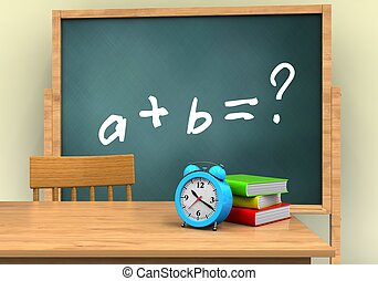 3d blank - 3d illustration of board with math exercise text...