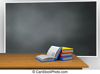 3d blank - 3d illustration of blackboard with books and