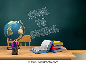 3d globe - 3d illustration of schoolboard with back to...