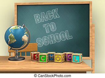 3d blank - 3d illustration of board with back to school text...