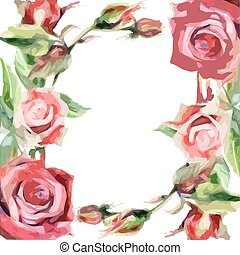Wildflower rose frame flower in a vector style isolated.