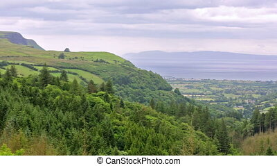 panoramic view of Glenariff, one of the Glens of Antrim,...
