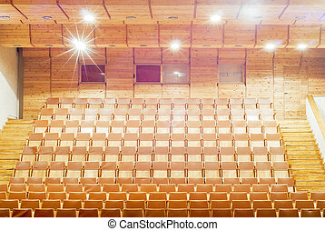 Gold theater Seats - Gold wooden theater Seats, bright...