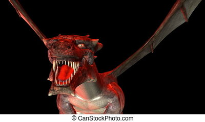 Digital 3D Animation of creepy Dragon