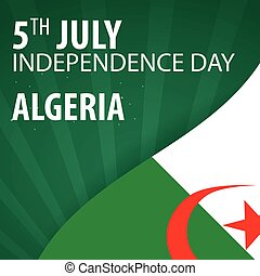 Independence day of Algeria. Flag and Patriotic Banner....